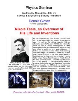 Physics Seminar  Nikola Tesla, an Overview of His Life and Inventions