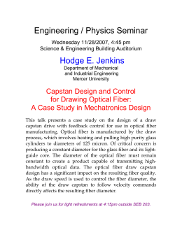 Engineering / Physics Seminar Hodge E. Jenkins  Capstan Design and Control