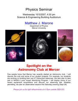 Physics Seminar  Matthew J. Marone Spotlight on the