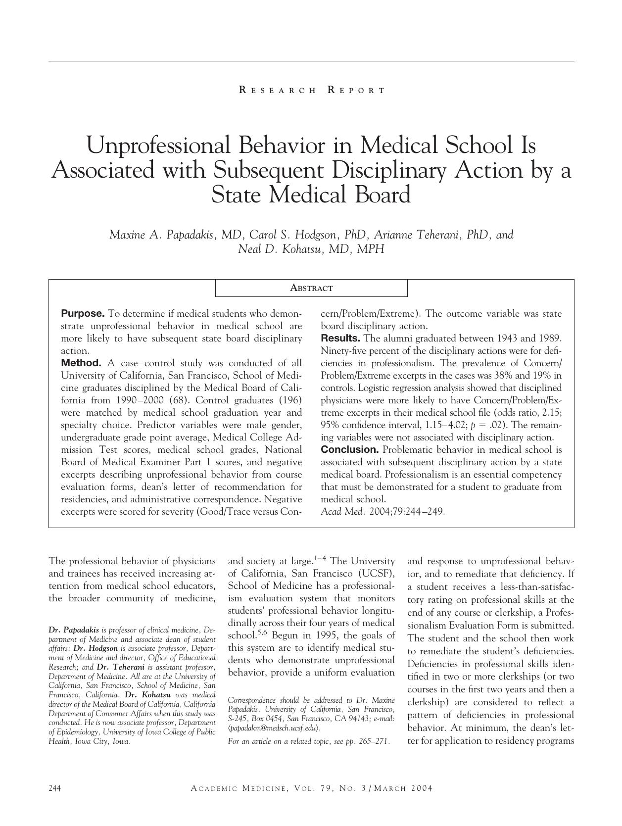 Unprofessional Behavior in Medical School Is State Medical Board