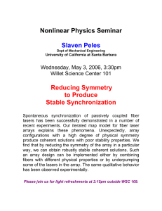 Nonlinear Physics Seminar  Slaven Peles Reducing Symmetry