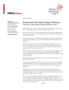 Pacific University Adds College of Business  January 7, 2013