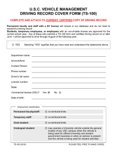 U.S.C. VEHICLE MANAGEMENT DRIVING RECORD COVER FORM (TS-100)  CURRENT, CERTIFIED