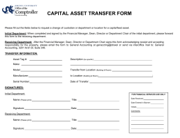 CAPITAL ASSET TRANSFER FORM