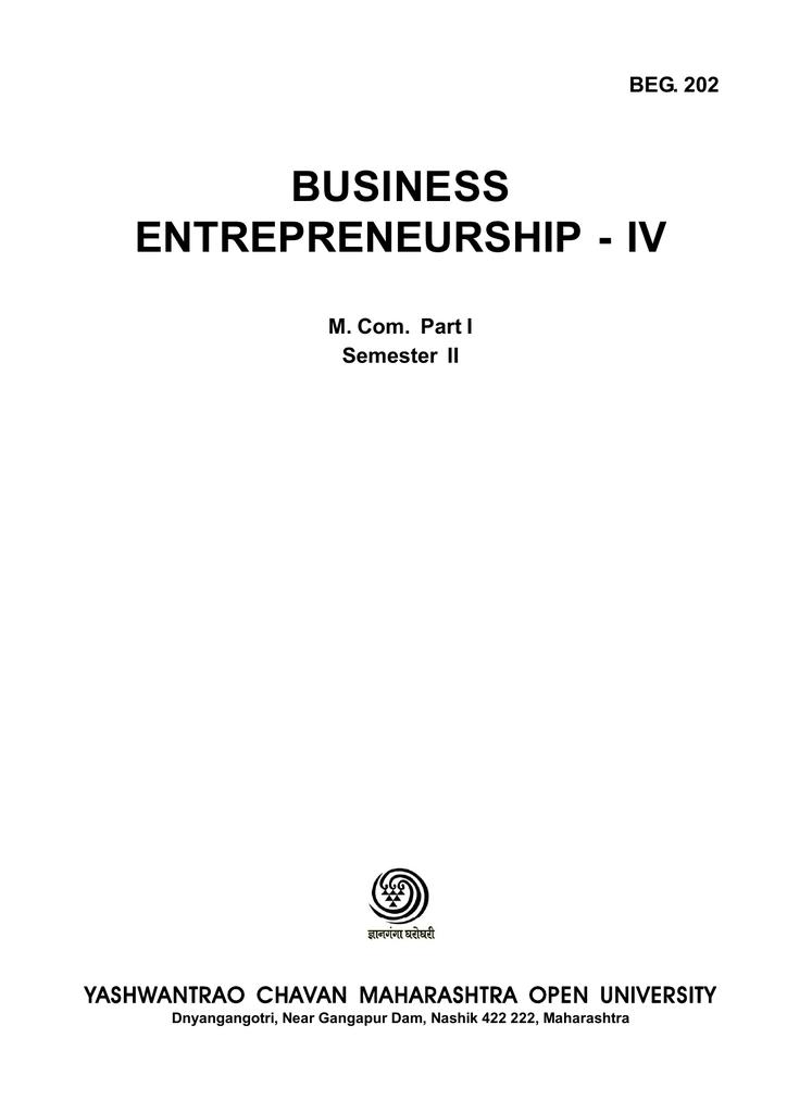 BUSINESS ENTREPRENEURSHIP - IV BEG  202