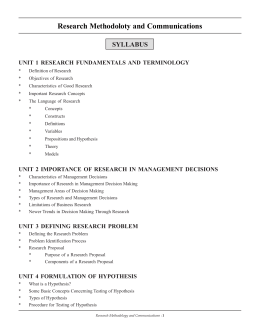 Research Methodoloty and Communications SYLLABUS UNIT 1 RESEARCH FUNDAMENTALS AND TERMINOLOGY