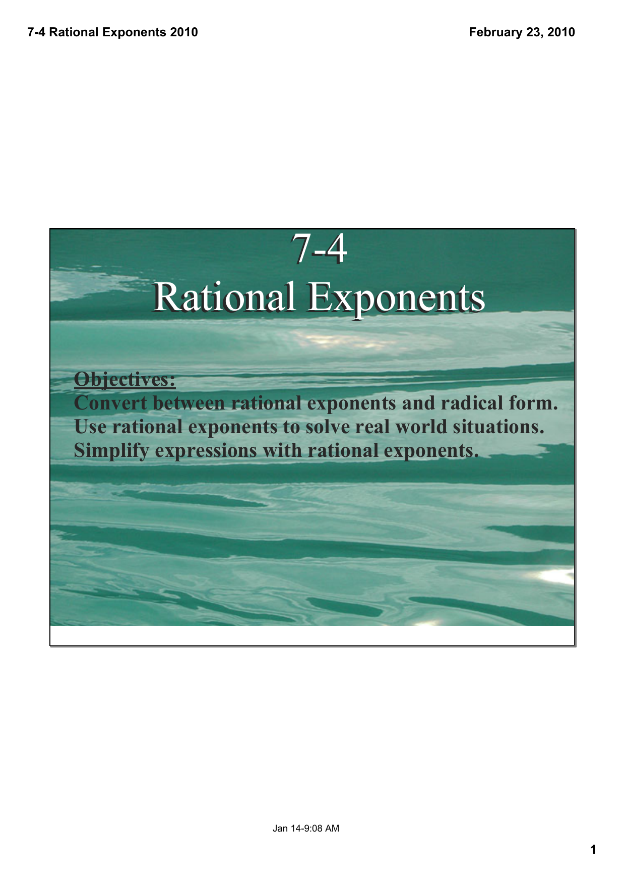 74 Rational Exponents