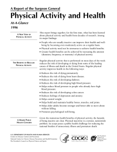 Physical Activity and Health A Report of the Surgeon General At-A-Glance 1996