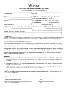 Pacific University Personal Cell Phone Stipend Agreement
