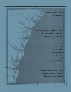Technical  Report Series Number 79-2 HYDROGRAPHIC OBSERVATIONS OFF SAVANNAH,  GEORGIA