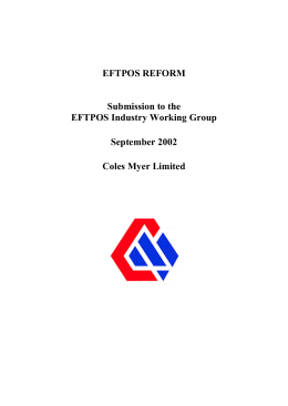 EFTPOS REFORM Submission to the EFTPOS Industry Working Group