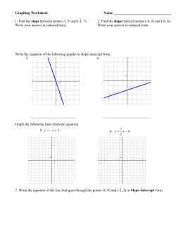 Graphing Worksheet  Name ________________________________ slope