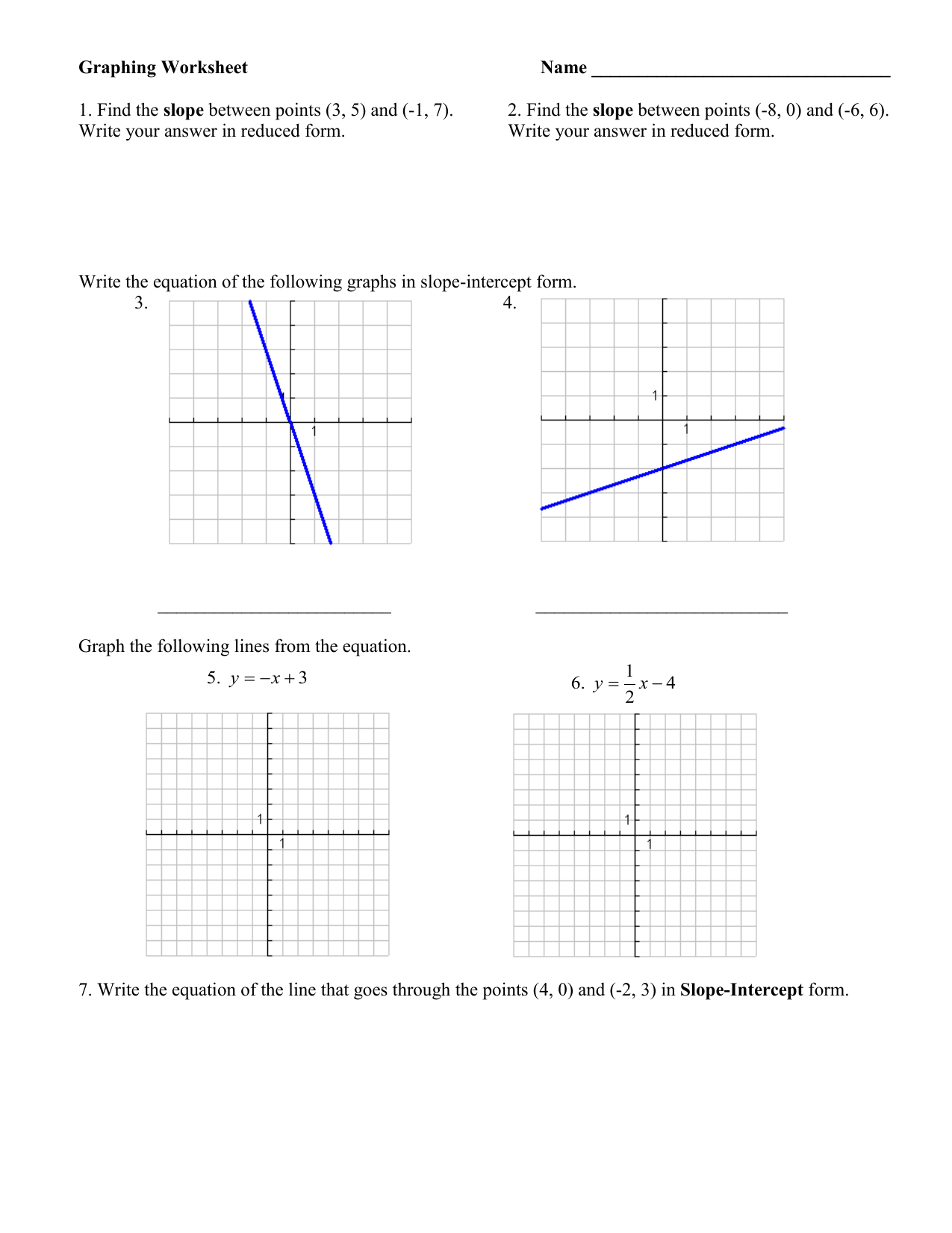 slope intercept form review worksheet  Graphing Worksheet Name slope