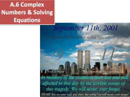 A.6 Complex Numbers & Solving Equations