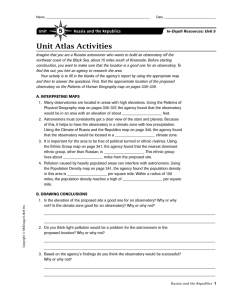 Unit Atlas Activities 5 Unit Russia and the Republics