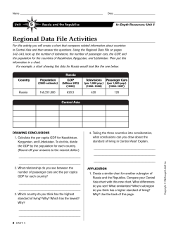 Regional Data File Activities 5 Unit Russia and the Republics