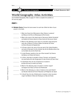 World Geography Atlas Activities 1 PART I Unit