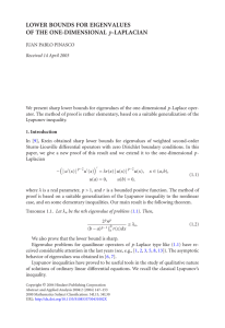 LOWER BOUNDS FOR EIGENVALUES OF THE ONE-DIMENSIONAL p