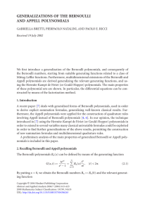 GENERALIZATIONS OF THE BERNOULLI AND APPELL POLYNOMIALS