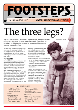 FOOTSTEPS The three legs? No.30  MARCH 1997 WATER, SANITATION AND HYGIENE