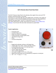 RAP-2 Remote Alarm Panel Data Sheet