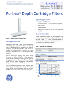 Purtrex* Depth Cartridge Filters Lenntech Typical  Applications Fact Sheet