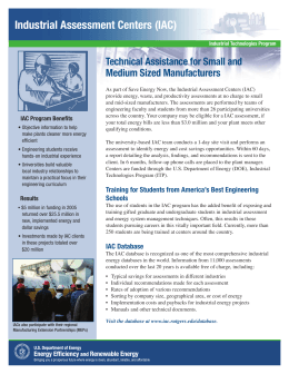 Industrial Assessment Centers (IAC) Technical Assistance for Small and Medium Sized Manufacturers