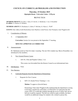 COUNCIL ON CURRICULAR PROGRAMS AND INSTRUCTION Thursday, 15 October 2015