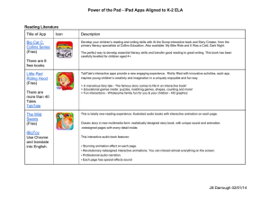 Power of the Pad ­ iPad Apps Aligned to K­2 ELA Reading Literature Title of App Icon