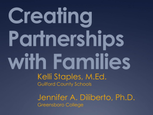 Creating Partnerships with Families Kelli Staples, M.Ed.