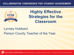 Highly Effective Strategies for the Classroom Lynsey Hubbard