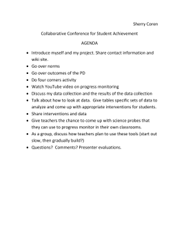 Sherry Coren Collaborative Conference for Student Achievement AGENDA