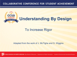Understanding By Design To Increase Rigor