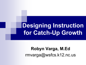 Designing Instruction for Catch-Up Growth Robyn Varga, M.Ed