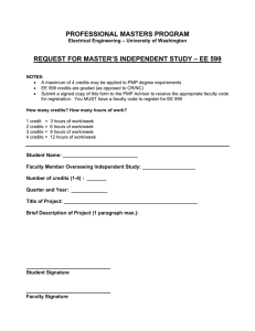 PROFESSIONAL MASTERS PROGRAM REQUEST FOR MASTER'S INDEPENDENT STUDY – EE 599