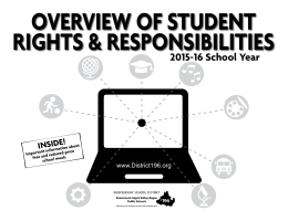 Overview Of Student rightS & reSpOnSibilitieS 2015-16 School Year inSide!