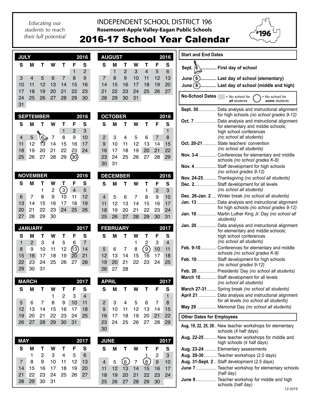 2016-17 School Year Calendar INDEPENDENT SCHOOL DISTRICT 196