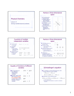 Physical Chemistry Functions of multiple independent variables