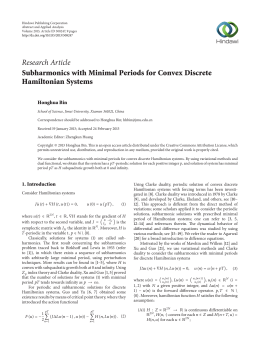 Research Article Subharmonics with Minimal Periods for Convex Discrete Hamiltonian Systems Honghua Bin
