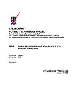 CALTECH/MIT VOTING TECHNOLOGY PROJECT
