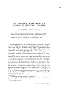 THE TOPOLOGICAL DEGREE METHOD FOR EQUATIONS OF THE NAVIER-STOKES TYPE