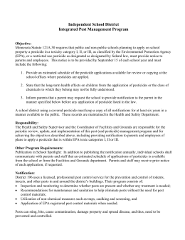 Independent School District Integrated Pest Management Program