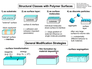 Structural Classes with Polymer Surfaces 1) as substrate: 2) as surface layer: