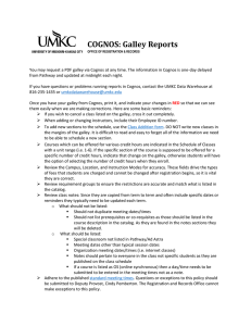 COGNOS: Galley Reports
