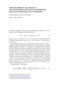 POSITIVE PERIODIC SOLUTIONS OF NONAUTONOMOUS FUNCTIONAL DIFFERENTIAL EQUATIONS DEPENDING ON A PARAMETER