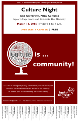 is … community! Culture Night March 11, 2016