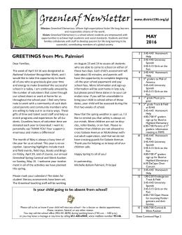 Greenleaf Newsletter MAY www.district196.org/gl