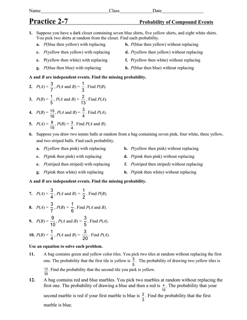 Practice 27 Probability of Compound Events Name – Compound Events Worksheet