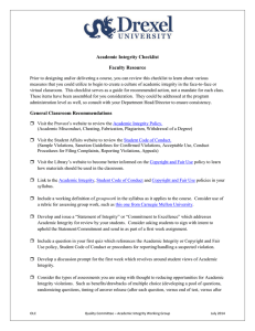 Academic Integrity Checklist Faculty Resource