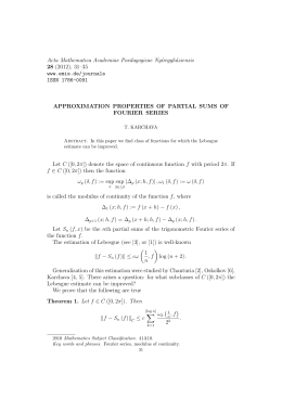 Acta Mathematica Academiae Paedagogicae Ny´ıregyh´ aziensis 28 APPROXIMATION PROPERTIES OF PARTIAL SUMS OF
